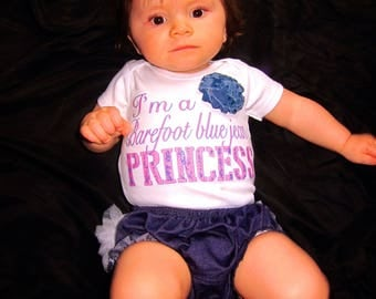 I'm a barefoot blue jean princess one piece or t-shirt with diaper cover bloomers novelty gift