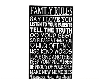 Family Rules Wooden Sign - Wall Hanging - Large Wall Art - Custom Sign - Rules For Family - Gift - Mothers Day Gift Idea - Home Decor
