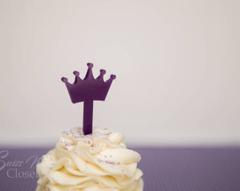 25 Crown Shaped Cupcake Toppers Custom Etched Clear Acrylic, Laser Cut Decor Dessert 1st First Birthday