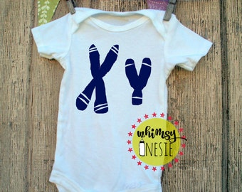 Xy chromosome MALE boy baby onesie science, geeky, nerdy, funny, birth announcement Whimsy Onesie blue medical