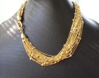 Vintage Ann Taylor Gold Plated Necklace and Bracelet