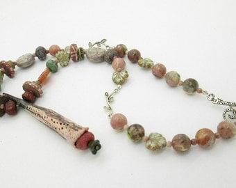 Boho, Hippie Pod Pendant, Ceramic Pod Necklace, Woodland Fantasy Necklace, Wiccan Necklace, Fairy Necklace