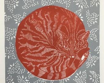 Limited edition Linocut of Sleeping cat