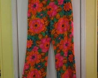 Funky Flower Go Go Pants Bold and Bright Women's Size Med With Pom-Poms