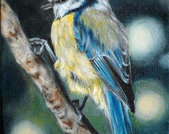 Print of Original Acrylic Blue Tit Painting wildlife nature art