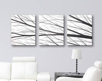 """SALE Canvas Art Wall Art Black and White Wall Decor Tree Paintings Wall Hangings Home Decor 48""""x20"""" Todd Evans Art Original Painting"""