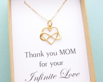 Mother Daughter Jewelry, Mother Daughter Necklace, Mother and Daughter Gift, Mom Gift, Infinity Heart Charm Necklace, Gold or Silver