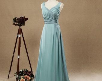 Dusty Blue Straps V-neck Bridesmaid Dresses,Women Formal Dresses,Prom Dresses,Evening Dresses,Chiffon long Dresses