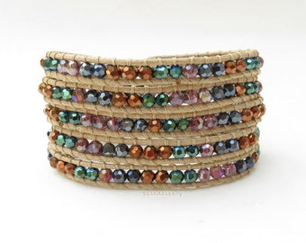 Brown green crystal wrap bracelet on soft beige polyester cord, black, colorful, purple, metallic
