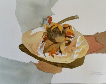 """SALE Fall Series """" Dried Sunflower on a Shell """" original one of a kind watercolor"""