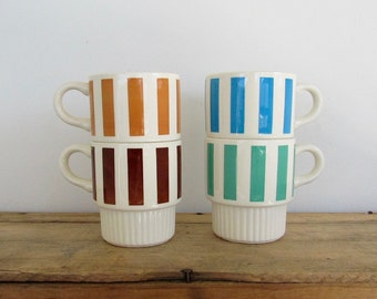 Striped Stacking Mugs