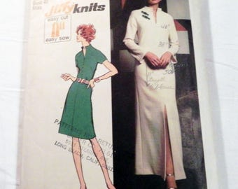 1970s Boho Maxi Dress Knit Raglan Sleeve Slit Neck jiffy sewing pattern plus size Simplicity 5320 Size 18 Bust 40""