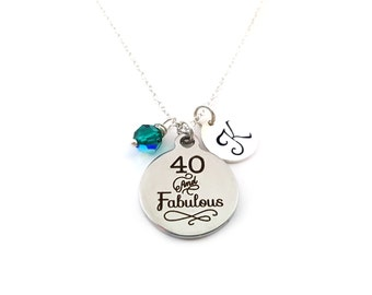 40 and Fabulous - 40th Birthday Jewelry - Swarovski Birthstone - Personalized Initial Necklace - Sterling Silver Jewelry - Gift for Her