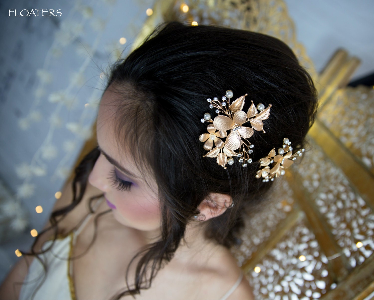 gold hair clips, gold barrettes and hair clips, gold wedding hair