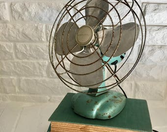 vintage aqua Eskimo fan can be hung on a wall retro