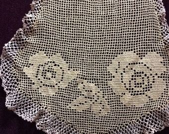Vintage Crocheted Apron with Roses
