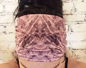 Extra Wide Yoga Headband - Tie Dye - Amethyst Purple & Light Pink