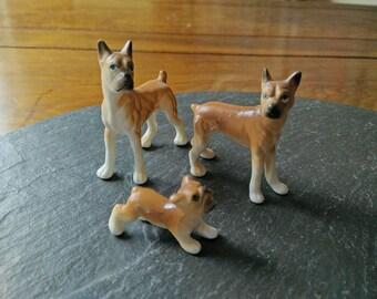 3 Bisque bone china animal figurines vintage porcelain boxer dog family set Grad Father's day terrarium cake topper birthday collectible