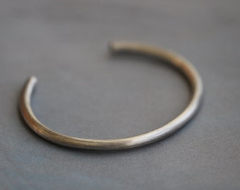 Sterling Silver Cuff Bracelet, Smooth, Round, Heavy Gauge, Men, Women, Unisex, Modern, Minimalist, Thick and Sturdy, Mossy Creek