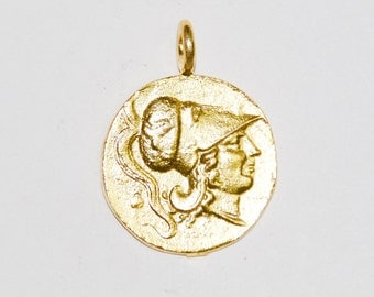 Gold Coin Pendant, Roman coin Athena, men and women's rustic coin jewelry