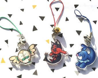 Acrylic clear charm Rowlet, Litten, Popplio (Pokémon)