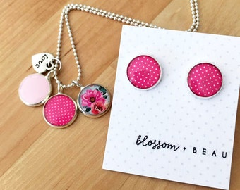Pink Resin Silver Necklace and or earrings