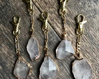Quartz Keychain Gold,Gemstone Keychain Gold,Raw Stone Keychain,Planner Charm,Quartz Crystal,Raw Crystal Keychain,,Boho Keyring,Gold Keyclip