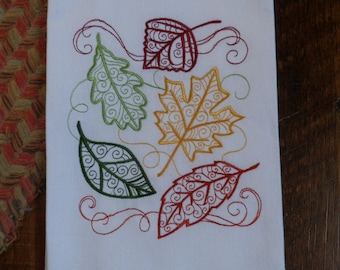 Kitchen Tea Towel Dish Towel Embroidered  AUTUMN FALLING LEAVES Filigree Design