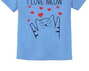 I Love Meow Cat Lover Toddler Short Sleeve T-Shirt
