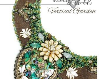 natural shell statement necklace, elvish neck piece, floral cocktail necklace, one of a kind nature ,seed bead green sacred heart collar