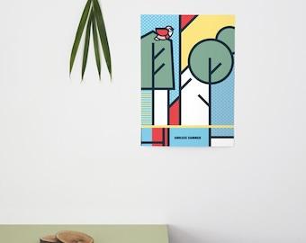 Endless Summer, Pop Art, Summer, Colour, illustration, Wall Art, Home Decor, a4, Poster, Forest, Geometric