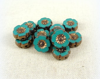 Czech Beads, Czech Glass Flower Beads, Hibiscus Flower - Turquoise Green with Bronze Picasso (FL9/RJ-0768) - 9mm - Qty. 8