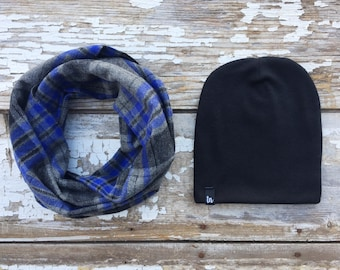 Scarf and Beanie Set Gray Infinity Scarf & Hat Set Blue Plaid Scarf Baby Scarf Bib Toddler Scarf Drool Bib Slouchy Beanie Baby Winter Hat