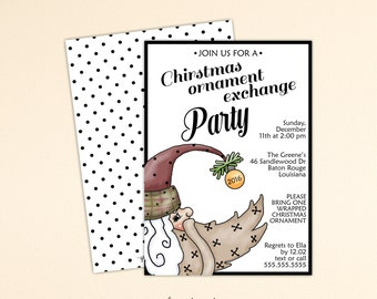Christmas Ornament Exchange Party Invitation, Christmas Party Invitation, Holiday Open House, Christmas Open House, C13008