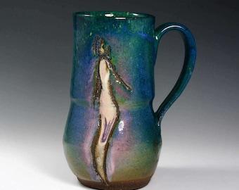 Unique Coffee Mug  20 oz, Large  Green mug, handmade ceramic Mug, Pottery coffee cup with figure.