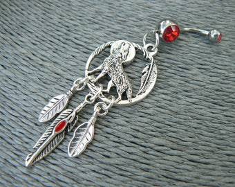 wolf belly ring,wolf dreamcatcher, dreamcatcher belly ring,Red feather, moon belly ring,,boho, beach,festival,  tribal fusion