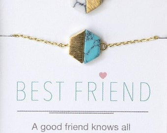 Best Friend Bracelets, Gold Turquoise Lapis White Marble Bracelet, Semiprecious Stone Bracelet, Dainty Jewelry, Gift For Best Friend B179G