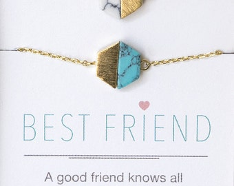 Best Friend Bracelets, Gold Turquoise Lapis White Marble Bracelet, Semiprecious Stone Bracelet, Dainty Jewelry, Gift For Best Friend B179G