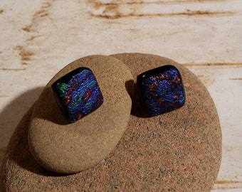Square Blue and Red Dichroic Fused Glass Post Earrings - FG-055