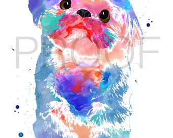 shih tzu    Popcorn the Shih Tzu    shih tzu art    dog art    watercolor dog art    watercolor dog    shih tzu watercolor    toy dog