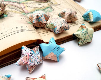Travel Wedding Confetti - Map Star Confetti - Wedding Table Confetti - Travel Bridal Shower - Travel Baby Shower - Map Wedding Confetti
