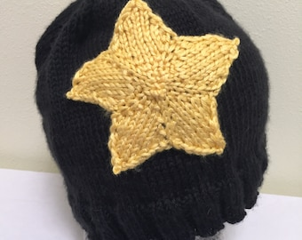 Black and Yellow Knitted Roller Derby Jammer Hat