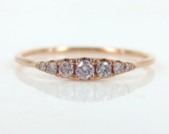 Seven-Stone Graduated Argyle Pink Diamond Ring in 18K Rose Gold