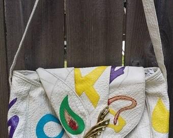 Vintage 90s white Patchwork handbag purse shoulder bag