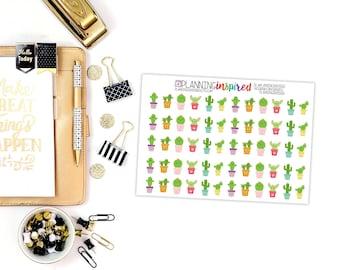 Happy Cactus Stickers, Set of 60 Cactus Planner Stickers