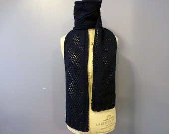 Knit Scarf, Wool Scarf, Alpaca Scarf, Navy Blue, Scarf for Him, Gift for Men, Mens Gift, Womens Scarves, Winter Accessories, Diamond Pattern