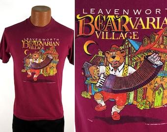 Vintage 1987 Leavenworth, Washington BEARvarian Village T-Shirt Medium // Bavarian Village // German Town // Germanic // Festival // 80s