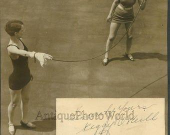 Reggie ONeill women circus whip performer antique autographed photo