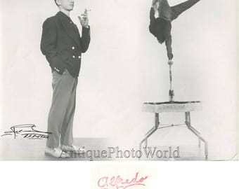 Handsome smoking man circus acrobat Barcelona Spain vintage photo montage