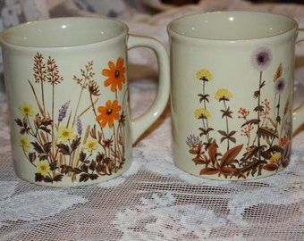 2 Vintage Mugs with  Orange, Yellow and Brown Flowers made in Japan
